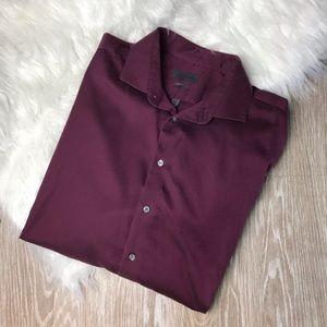 Calvin Klein Dark Red Button Down Dress Shirt Mens